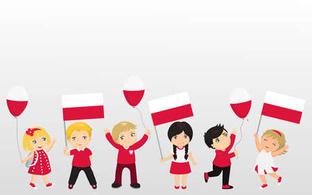 Polish children with flags and balloons. graphic design to the Poland holidays