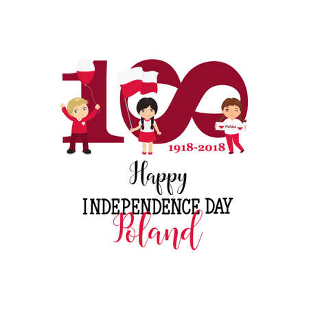 Greeting Card 100 anniversary of the independence of Poland . November 11th Kids logo
