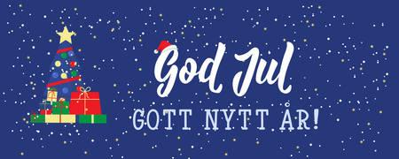 Christmas banner. Swedish text: Merry Christmas. Happy New Year. Lettering. vector illustration. element for flyers, banner and posters Modern calligraphy. God Jul. Gott nytt år!