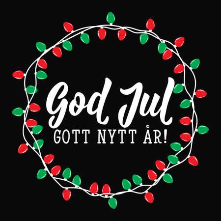 Christmas card. Swedish text: Merry Christmas. Happy New Year. Lettering. vector illustration. element for flyers, banner and posters Modern calligraphy. God Jul. Gott nytt år!