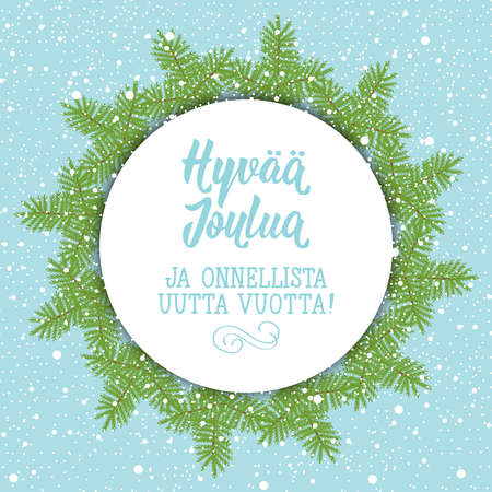 Christmas card. Finish text: Merry Christmas. Happy New Year. Lettering. vector illustration. element for flyers, banner and posters Modern calligraphy. Hyvää joulua ja onnellista uutta vuotta!