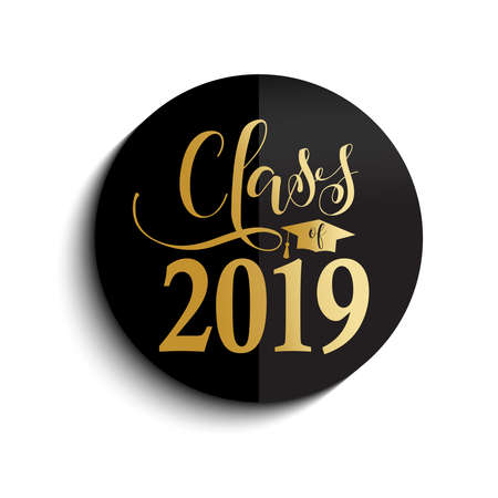 Class of 2019 hand drawn lettering. Vector illustration. Template for graduation design, high school or college graduate. Imagens - 111194899