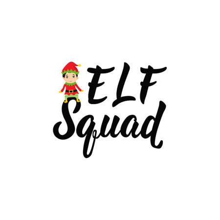 Elf squad. Lettering. Hand drawn vector illustration. element for flyers, banner, t-shirt and posters winter holiday design. Modern calligraphy. Funny Christmas text Illusztráció