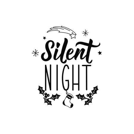 Silent night. Merry Christmas. Lettering. Hand drawn vector illustration. element for flyers, banner, t-shirt and posters winter holiday design. Modern calligraphy