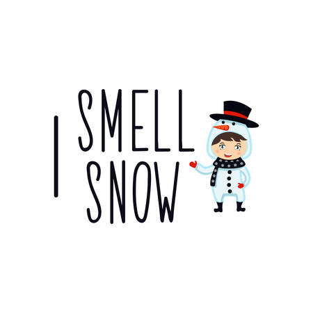 I smell snow. Lettering. Hand drawn vector illustration. element for flyers, banner, t-shirt and posters winter holiday design. Modern calligraphy. Merry Christmas.