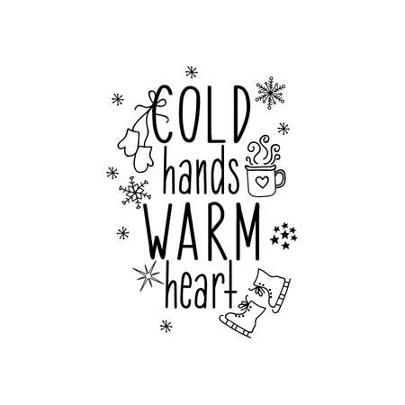 Cold hands warm heart. Merry Christmas. Lettering. Hand drawn vector illustration. element for flyers, banner, t-shirt and posters winter holiday design. Modern calligraphy