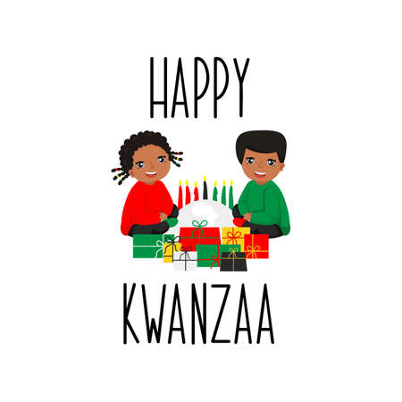 Happy Kwanzaa card. Lettering. calligraphy vector illustration.