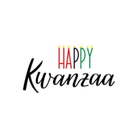 Happy Kwanzaa decorative greeting card. Vector illustration. Lettering