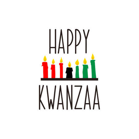 Happy Kwanzaa decorative greeting card. Vector illustration. Lettering