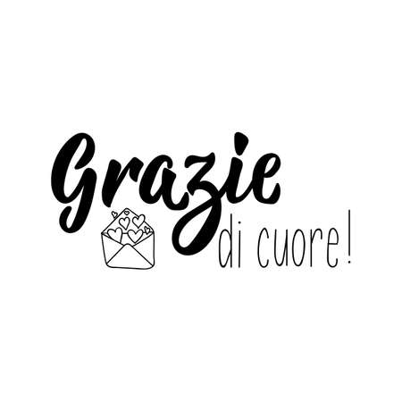 Grazie di cuore - Thank you very much in Italian. Modern brush calligraphy. Vector illustration.