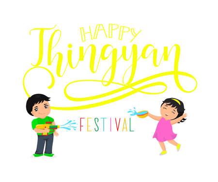 Myanmar Water festival wish. Vector illustration of Thingyan Festival.