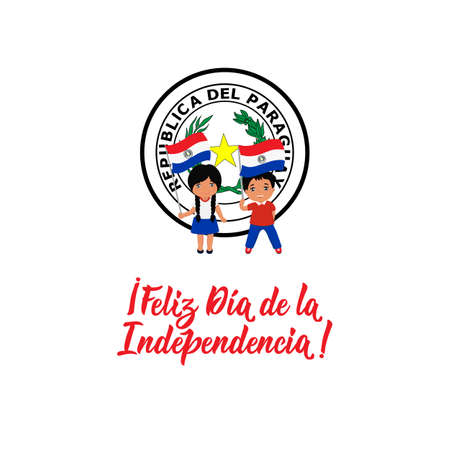 Paraguay Independence day greeting card. text in Spanish: Happy Independence day. Hand drawn vector illustration. element for flyers, banner and posters. May 14th and 15th. kids logo
