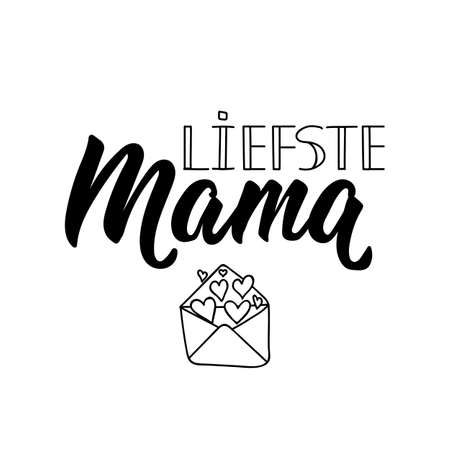 Dutch text: Dearest Mom. Mothers day. Lettering. vector illustration. element for flyers, banner and posters Modern calligraphy. Liefste mama