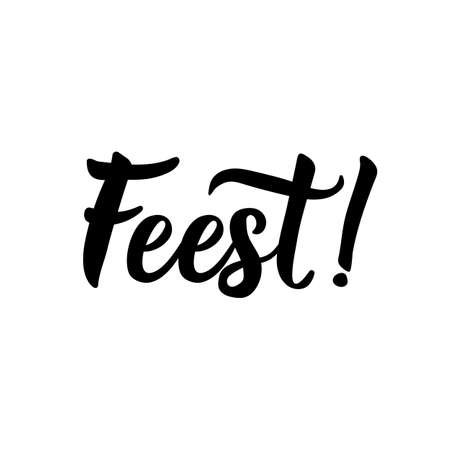 Dutch text: Party. Lettering. vector illustration. element for flyers, banner and posters Modern calligraphy. Feest  イラスト・ベクター素材