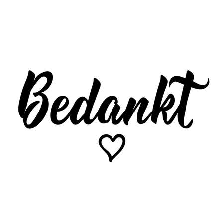 Dutch text: Thanks. Lettering. vector illustration. element for flyers, banner and posters. Modern calligraphy Bedankt  イラスト・ベクター素材