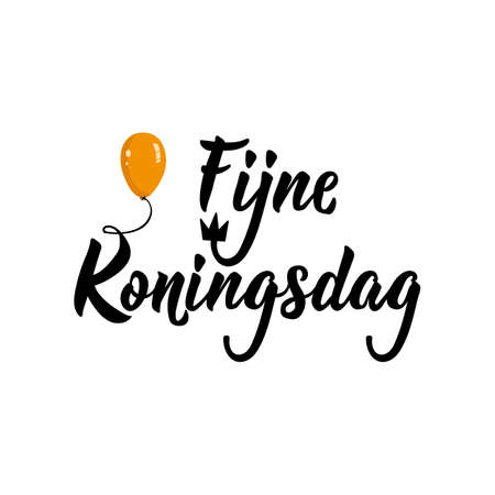 Dutch text: Happy Kings Day. Lettering. vector illustration. element for flyers, banner and posters. Modern calligraphy. Fijne Koningsdag.