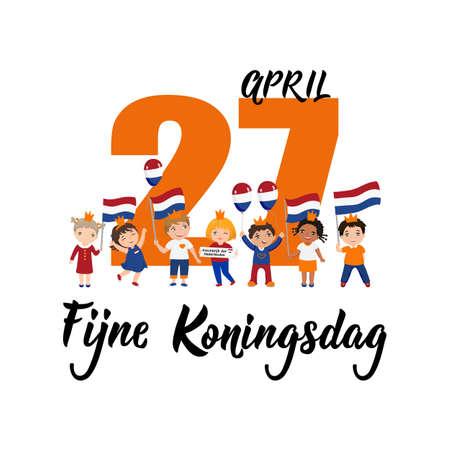 Niederländischer Text: Happy King's Day, 27. April. Beschriftung. Vektor-Illustration. Element für Flyer, Banner und Poster. Moderne Kalligraphie. Fijne Koningsdag. Kinderlogo