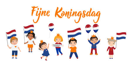 Dutch text: Happy King's Day. Lettering. vector illustration. element for flyers, banner and posters. Modern calligraphy. Fijne Koningsdag. kids logo