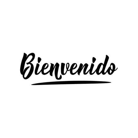 Bienvenido. Lettering. Translation from Spanish - Welcome. Modern vector brush calligraphy. Ink illustration