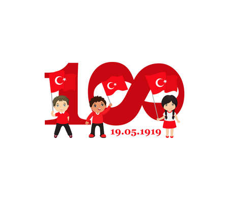 vector illustration 19 mayis Ataturk'u Anma, Genclik ve Spor Bayrami. Lettering, translation: 19 may Commemoration of Ataturk, Youth and Sports Day.