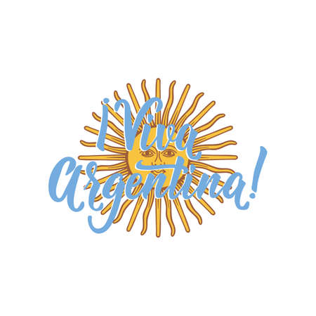 text in spanish: Viva Chile. Lettering. Vector illustration. Design concept independence day celebration, card  イラスト・ベクター素材
