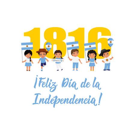 Feliz dia de la independencia. text in spanish: Happy Independence Day, 1816. Lettering. Vector illustration. Design concept independence day celebration, card, kids logo  イラスト・ベクター素材