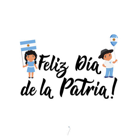 Feliz dia de la Patria. text in spanish: Happy day of the Fatherland. Lettering. Vector illustration. Design concept independence day celebration, card, kids logo