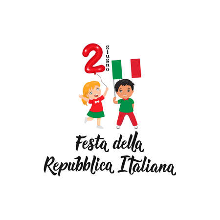 Festa della Repubblica Italiana. text in Italian: Italian Republic Holiday, 2nd of June. Lettering. Vector illustration. Design concept independence day celebration, card. kids logo Иллюстрация
