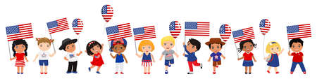 children holding USA flags and balloons. Modern design template for greeting card, ad, promotion, poster, flyer, blog, article, social media Vector illustration  イラスト・ベクター素材