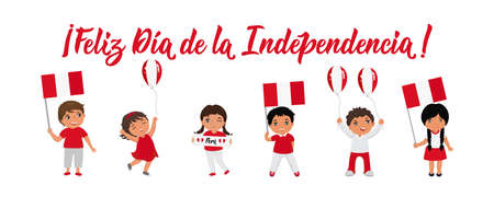 Peru Independence day greeting card. text in Spanish: Happy Independence day. Hand drawn vector illustration. element for flyers, banner and posters. Ilustrace