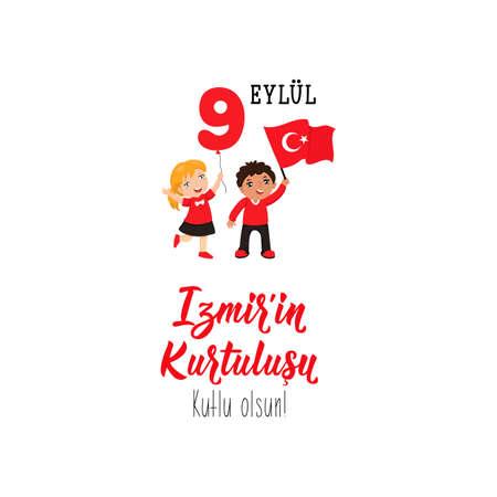 Turkish holiday, vector illustration 9 eylul Izmirin Kurtulusu Lettering, translation: September 9, Salvation of Izmir, happy holiday.