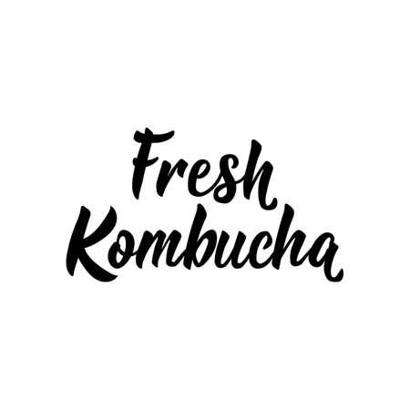 Fresh Kombucha. Lettering. Vector illustration. Text sign design for print, badge, packaging, label Kombucha healthy fermented probiotic tea