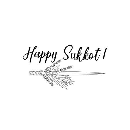Happy Sukkot. Jewish holiday banner design. Template for postcard or invitation card, poster, print. Vector illustration.