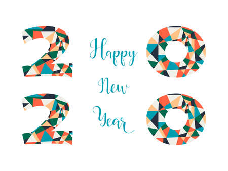 Happy New Year card. Lettering. Vector illustration. design for greeting cards, posters, T-shirts, banners print invitations. 2020 Standard-Bild - 132369843