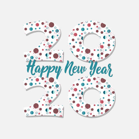 Happy New Year card. Lettering. Vector illustration. design for greeting cards, posters, T-shirts, banners print invitations. 2020 Standard-Bild - 132369849