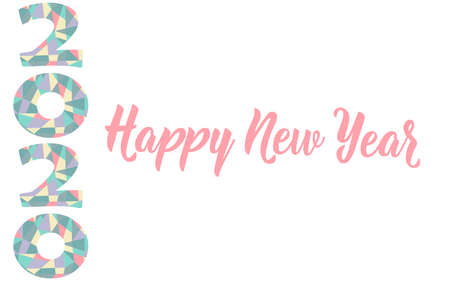 Happy New Year card. Lettering. Vector illustration. design for greeting cards, posters, T-shirts, banners print invitations. 2020 Standard-Bild - 132369853