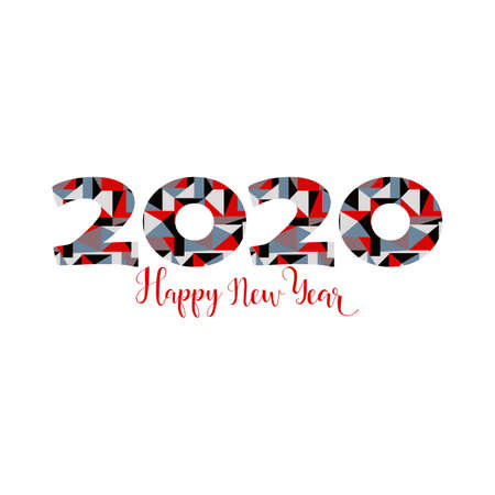 Happy New Year card. Lettering. Vector illustration. design for greeting cards, posters, T-shirts, banners print invitations. 2020 Standard-Bild - 132369854