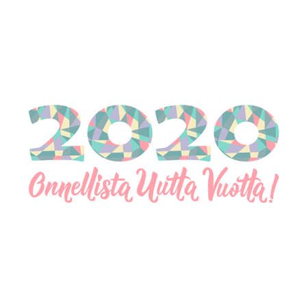 Translation from Finnish Happy New Year 2020. Lettering. Vector illustration. design for greeting cards, posters, T-shirts, banners print invitations. Standard-Bild - 132369865