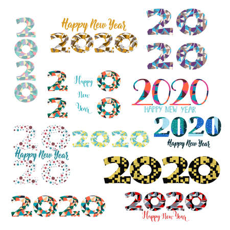 Happy New Year card. Set. Lettering. Vector illustration. design for greeting cards, posters, T-shirts, banners print invitations 2020 Standard-Bild - 132369873