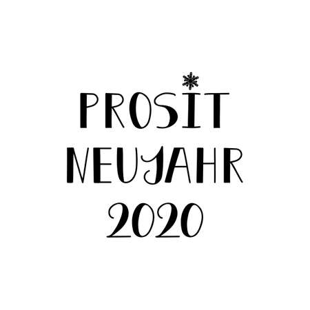 German text: Cheers New Year2020. Lettering. vector illustration. element for flyers, banner and posters Modern calligraphy. Prosit Neujahr 2020 Ilustração