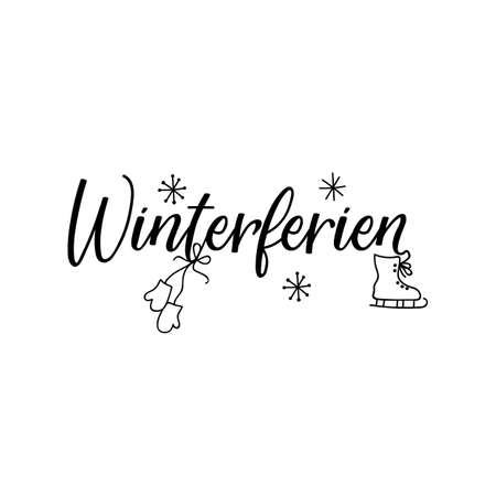 German text: Winter holiday. Lettering. vector illustration. element for flyers, banner and posters Modern calligraphy. Winterferien Banco de Imagens - 132237763