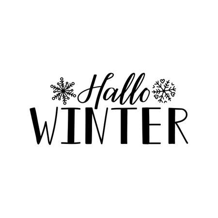 German text: Hello winter. Lettering. vector illustration. element for flyers, banner and posters Modern calligraphy. Hallo winter