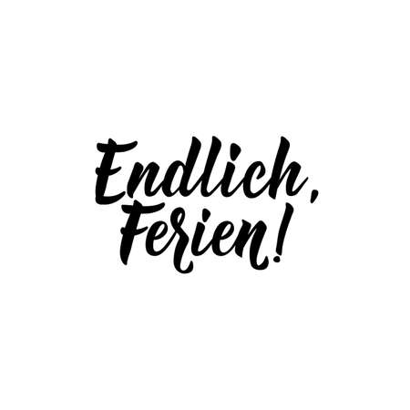 German text: Finally vacation. Lettering. vector illustration. element for flyers, banner and posters Modern calligraphy. Winterferien Standard-Bild - 132654644