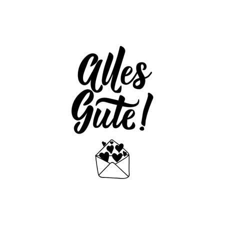 German text: All the best. Lettering. vector illustration. element for flyers, greeting card, banner and posters Modern calligraphy. Standard-Bild - 132369879