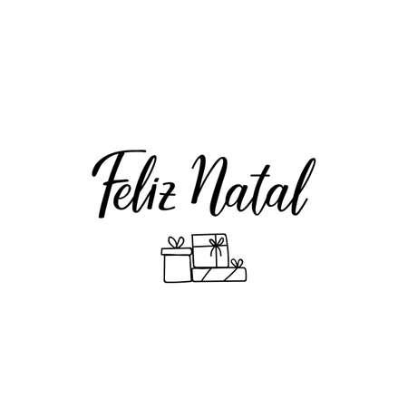 Feliz natal. Merry Christmas in portugues. Brazilian lettering. Standard-Bild - 137235368