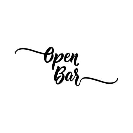 Open bar. Lettering. Can be used for prints bags, t-shirts, posters, cards. calligraphy vector. Ink illustration Standard-Bild - 137141210