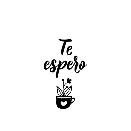 Te espero. Lettering. Translation from Spanish - I wait for you. Modern vector brush calligraphy. Ink illustration. Standard-Bild - 137493918
