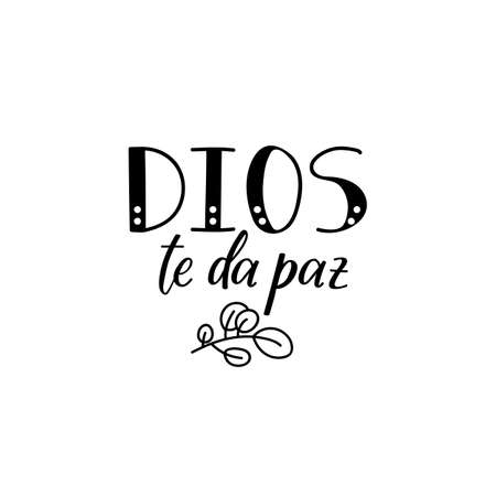 Dios te da paz. Lettering. Translation from Spanish - God give you peace. Element for flyers, banner and posters. Modern calligraphy Standard-Bild - 137831938