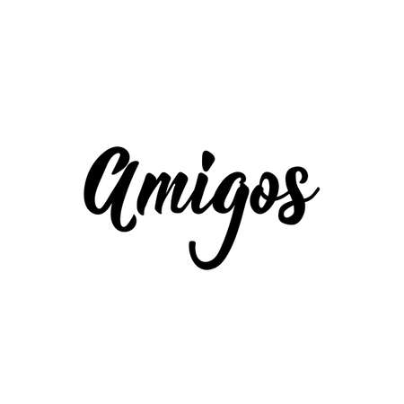 Amigos. Lettering. Translation from Spanish - Friends. Element for flyers, banner and posters. Modern calligraphy Standard-Bild - 137999794