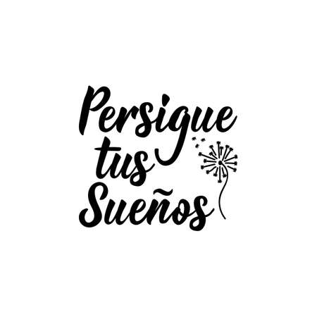 Persigue tus suenos. Lettering. Translation from Spanish - Follow your dreams. Element for flyers, banner and posters. Modern calligraphy. feminism typography cards